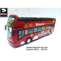 Micro Omnibus Bus City Doble Piso Esc1:50 Coleccion Metal