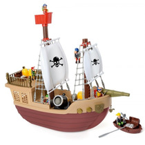 Barco Pirata Con Muñecos Articulados Y Partes Moviles