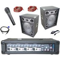 Amplificador Moon 9 Entradas Con Usb Dos Bafles + Micrófono
