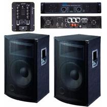 Dos Bafles + Ampli Moon Pm120 + Mixer En 12 Cuotas Fijas