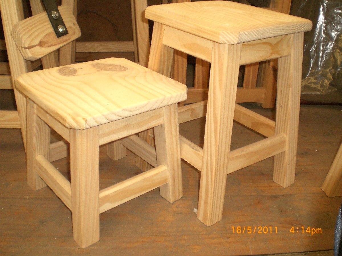 Banco taburete o banqueta de madera 45 cm 345 00 en for Banquetas de madera
