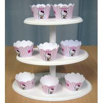 Torre Cupcakes 3 Pisos Pintada, Candy Bar, Cookies, Souvenir