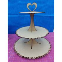 Porta Cupcake Tres Pisos 35-28-20 Cm 30cm Altura Corte Laser