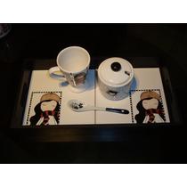 Bandeja Desayuno + Taza + Azucarera Pintado A Mano