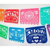 Banderines Mexicanos Calados Tela X3,3m Multicolor Y Blanco