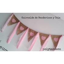 Guirnalda Banderines Tela Arpillera Romantic Shabby Decora