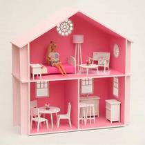 Casita Muñecas Barbie, Pintada, Con Muebles !!