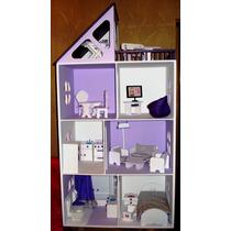 Casa De Muñecas Barbie Pintada Con Muebles