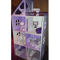 Casita Muñecas Barbie Pintada Y Decorada Con Muebles