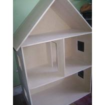 Casa Para Muñecas En Fibrofacil Pintadas Y Sin Pintar