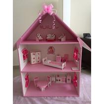 Casita Muñecas Barbie 3 Pisos Pintada Decorada Y Muebles
