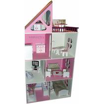 Casa De Muñecas Barbie Pintada Con Luces Casita Muebles
