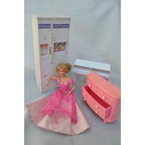 Barbie Princesa + Set De 3 Muebles Juguete Muñeca Niña