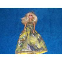 Hermosa Muñeca Barbie Con Vestido Amarillo