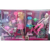 Muñecas Barbie + Accesorios Carrito De Bebe - Bicicleta Etc