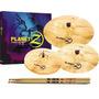 Set De Platillos P/batería Zildjian Z4 + Palillos Vic Firth