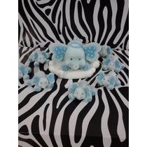 Elefantitos Para Bautismo En Porcelana Fría