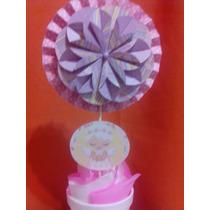 Centros De Mesa Para Bautismo Topiarios Roseta Con Flor 3d