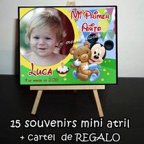 15 Souvenirs Mini Atril Personalizados + Cartel De Regalo