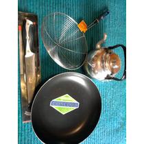 Set Sarten Teflon+escurridor+cuchilla Acero+pava