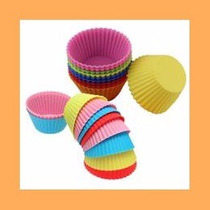 12 Moldes De Mini Muffisn 100% Silicona Varios Colores Pir02