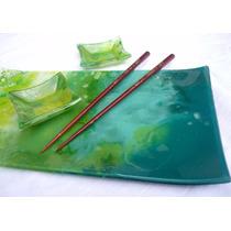 Bandejas Sushi Con 2 Cuencos En Vitrofusion