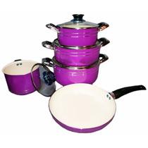 Juego De Ollas + Sarten De Ceramica Ceramic Pan 9 Piezas