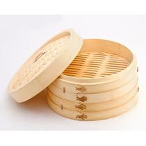 Vaporiera De Bambu 20cm 2 Piso + Tapa Comer Sano Y Natural