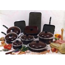 Set Cacerola+sarten+cuadrada+paellera+grilldoble C/tefon