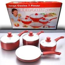 Juego De Ollas + Sarten De Ceramica Ceramic Pan 7 Piezas