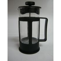 Cafetera Vidrio Plastico Con Embolo Filtro Acero 300ml Negra