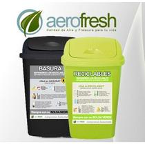 Kit 2 Cestos Tacho De Basura Residuos 25l Verde Y Negro