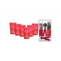 Pack X6 Vasos 410 Cc Y Set De Cubiertos 24 Piezas Rojo