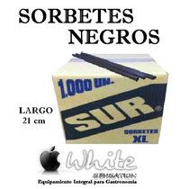 Sorbetes Negros De 21 Cm Para Tragos - Caja X 1000 Unidades