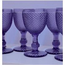 6 Copas De Vidrio De Vino O Agua Talladas Estilo Vintage.