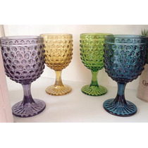 Copas De Colores En Vidrio Labrado Modelo Arabe 6 Unidades