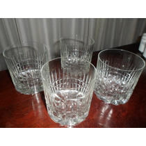 565- Juego De 4 Vasos De Whisky Cristal Tallado