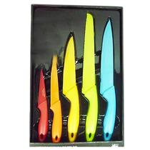 Set Cuchillos 5 Piezas Acero Inoxidable Mango Antideslizante