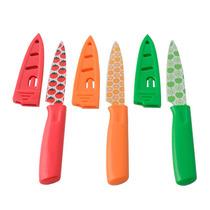 3 Cuchillos Filosos Con Mango Y Funda Plástica Cocina Morph