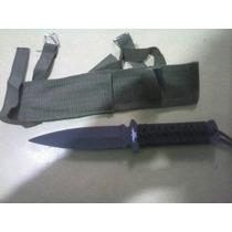 Cuchillo De Mango Cosido Black Tipo Daga 12.5cm +funda Trans