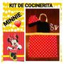 Kit Cocinerita Minnie. Gorro+delantal+2moldes+palitos