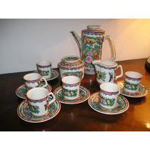 627- Juego De Cafe Porcelana Canton Sello Rojo 15 Piezas