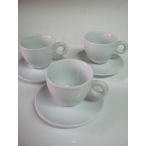 Juego 6 Cafe Porcelana Blanco Pocillo Taza Plato Te