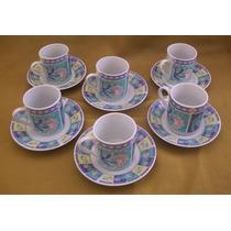 Juego De Café Shabby Chic - Porcelana C/ Sello Oriental