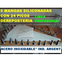 5 Mangas Siliconadas Y 24 Picos Set X 29 Pzs Pasteleria Cafe