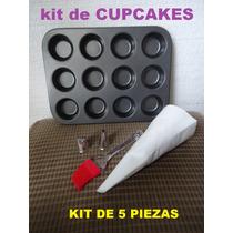 Kit Reposteria X5pzs Molde 12 Cupcake Pincel 2 Picos Y Manga