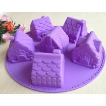 Molde De Silicona Con Forma De Casitas Para Cupcakes!