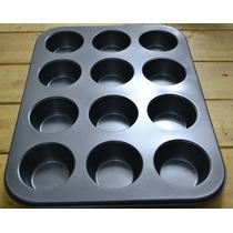Molde X 12 Teflonado Muffin Flan Budin De Pan Cupcakes