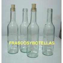 Botellas De Vidrio Burdeos 375 Cc Con Corcho X 20 Unidades
