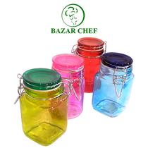 Frasco Vidrio Color Mediano Hermetico 12 X 7 Cm - Bazar Chef